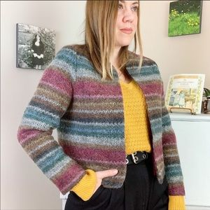 Vintage Mohair Multicoloured Cropped Knit Jacket